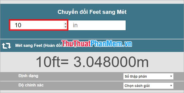 đổi từ feet sang m